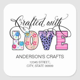 Crafted With Love Black Script ID193 Square Sticker