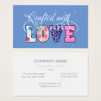 Crafted With Love White Script ID193 Business Card