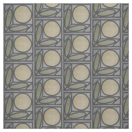 Craftsman Faux Applique (Grey, Green and Khaki) Fabric