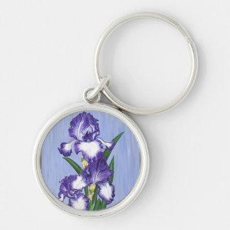 Craftsman Purple Iris Round Keychain