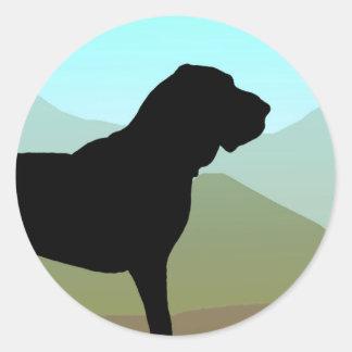 Craftsman Style Bloodhound Dog Classic Round Sticker