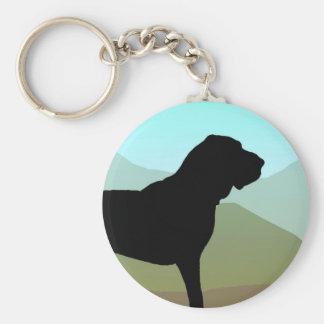 Craftsman Style Bloodhound Dog Basic Round Button Key Ring