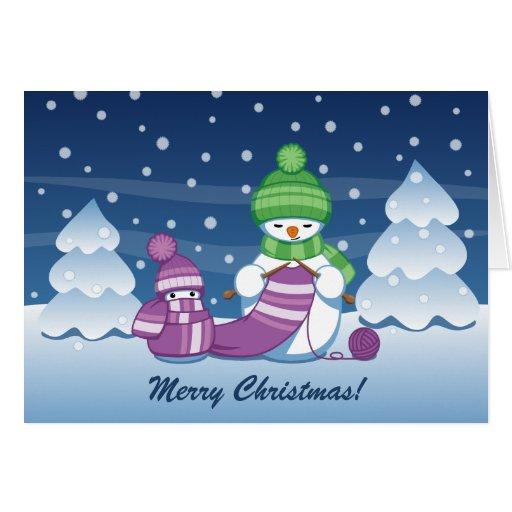 Crafty Snowman Knitting Scarf Merry Christmas Cards