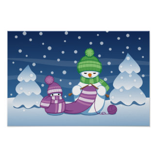 Crafty Snowman Knitting Scarf Poster
