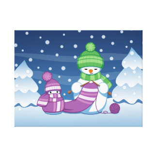 Crafty Snowman Knitting Scarf Stretched Canvas Prints