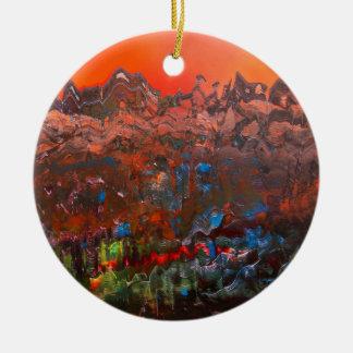 Craggy Mountain Sunset Round Ceramic Decoration