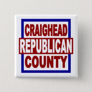 """Craighead County Repubican 2"""" x 2"""" Square Button"""
