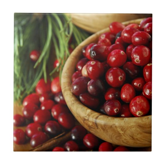 Cranberries in bowls small square tile