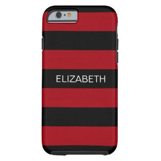 Cranberry Black Horiz Preppy Stripe #3 Monogram Tough iPhone 6 Case