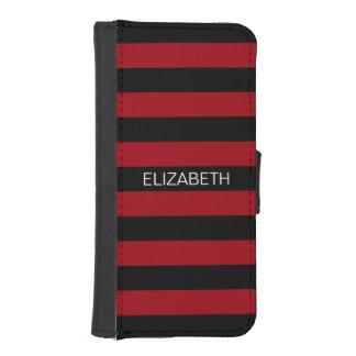 Cranberry Black Horiz Rugby Stripe Name Monogram