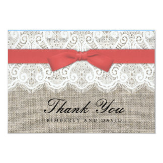 Cranberry Bow and Lace Wedding Thank You Card Invitations