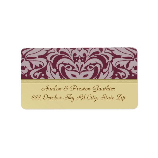 Cranberry Damask Gold Metal Wedding Address Label