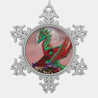Cranberry Dragon Snow Flake Christmas Ornament