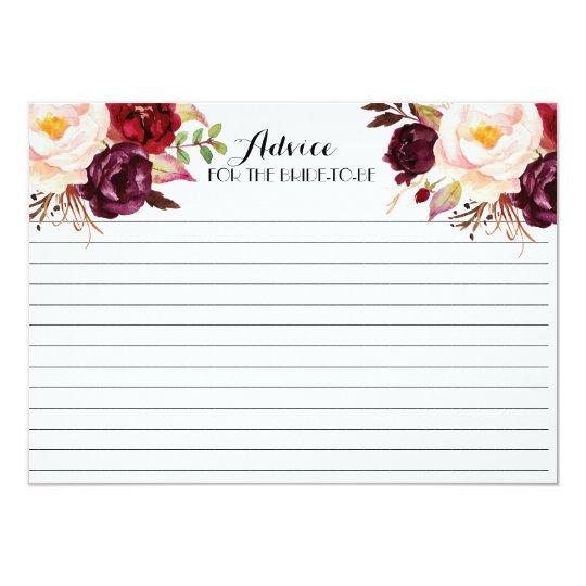 Cranberry, Marsala, Beautiful Floral Advice Cards