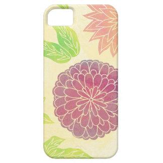 Cranberry & Orange Floral Print iPhone 5 Cases