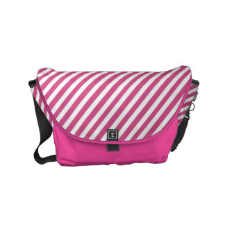 Cranberry Pink and White Diagonal Stripes Courier Bag
