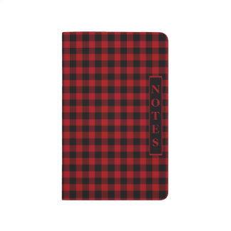 Cranberry Red And Black Checked Gingham Journal