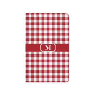 Cranberry Red and White checked Gingham Monogram Journal