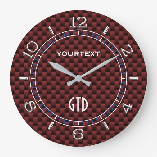Cranberry Red Carbon Fibre Style Personalised Dial Wall