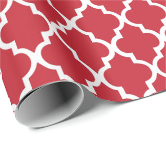 Cranberry Red Quatrefoil Tiles Pattern Wrapping Paper