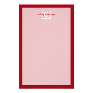 Cranberry Red White Framed Initial Monogram Stationery Design