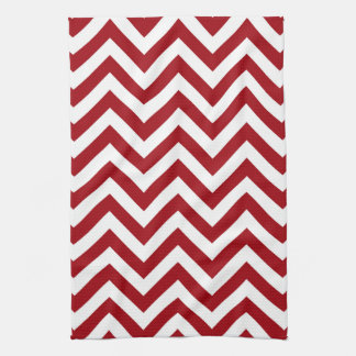 Cranberry Red White Large Chevron ZigZag Pattern Tea Towel