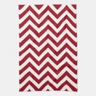 Cranberry Red White Large Chevron ZigZag Pattern Tea Towel
