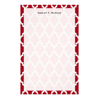 Cranberry Red White Moroccan Quatrefoil Pattern 4 Custom Stationery