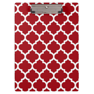 Cranberry Red White Moroccan Quatrefoil Pattern #5 Clipboard