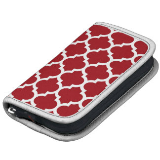 Cranberry Red White Moroccan Quatrefoil Pattern 5 Folio Planners