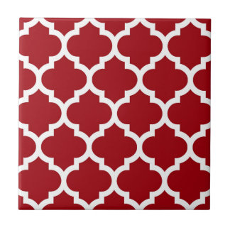 Cranberry Red White Moroccan Quatrefoil Pattern 5 Ceramic Tile