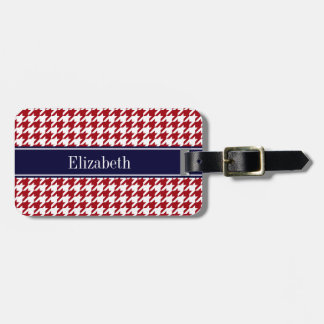 Cranberry Red Wht Houndstooth Navy Name Monogram Luggage Tag
