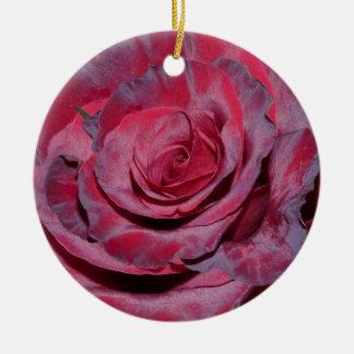 Cranberry Rose Round Ceramic Decoration