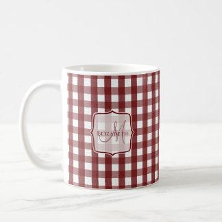 cranberry white gingham pattern monogrammed coffee mug