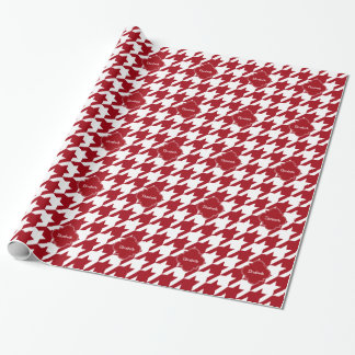 Cranberry Wht Houndstooth Cran Quatrefoil Monogram Wrapping Paper