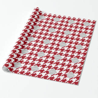 Cranberry Wht Houndstooth Gray Quatrefoil Monogram Wrapping Paper