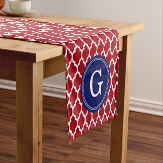 Cranberry Wht Moroccan #4Sm Navy 1I Round Monogram Short Table Runner