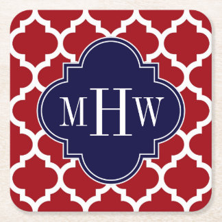 Cranberry Wht Moroccan #5 Navy 3 Initial Monogram Square Paper Coaster
