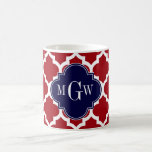 Cranberry Wht Moroccan #5 Navy Blue Name Monogram