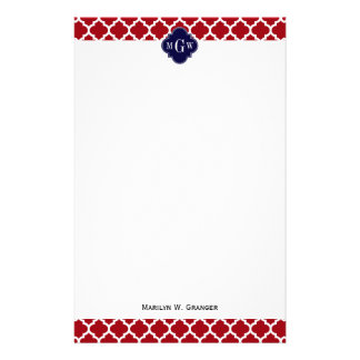 Cranberry Wht Moroccan 5 Navy Blue Name Monogram Stationery Paper