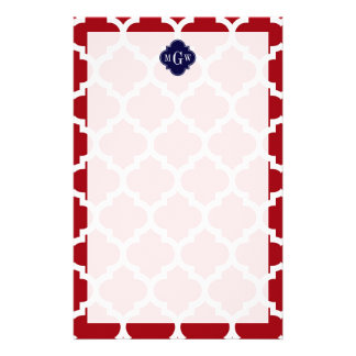 Cranberry Wht Moroccan 5 Navy Blue Name Monogram Stationery