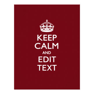 Cranberry Wine Burgundy Keep Calm and Your Text 21.5 Cm X 28 Cm Flyer