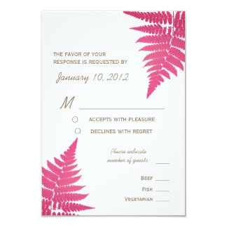 Cranberry Woodland Wedding Fern with Meal Options 9 Cm X 13 Cm Invitation Card