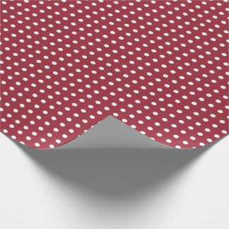 Cranberry Wrapping Paper with Small Polka Dots