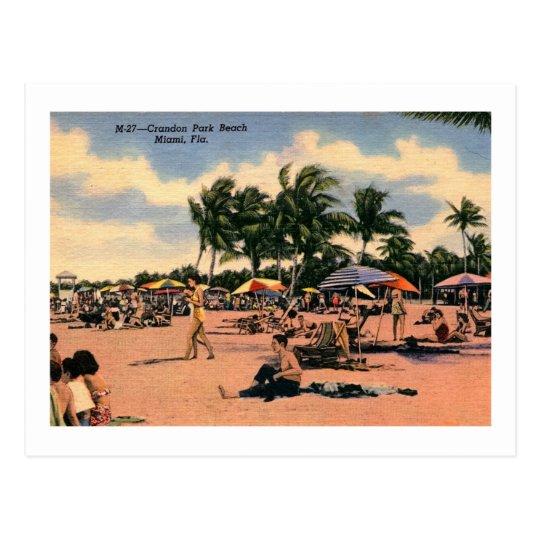 Crandon Beach, Miami, Florida Vintage Postcard