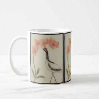 Crane and Orchid Mug