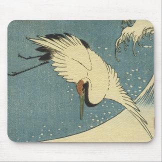 Crane and Wave, Hiroshige Mousepad