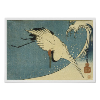 Crane and Wave Hiroshige Poster