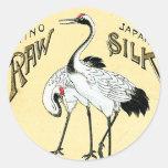 Crane Birds Vintage Japanese Silk Label