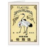 Crane Birds Vintage Japanese Silk Label Greeting Card